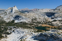 Cathedral Peak and Cathedral Lake on a Sunny Day. Royalty Free Stock Photo