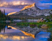 Cathedral Peak and Lake. Yosemite National Park. Stock Photos