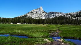 Cathedral Peak and meadows in Yosemite Park Stock Photography