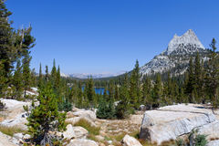 Cathedral Peak in Yosemite National Park on the John Muir Trail Stock Photos