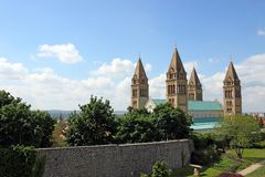 The Cathedral of Pecs cityscape. Hungary Royalty Free Stock Photos