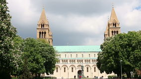 Cathedral of Pecs Hungary stock video footage