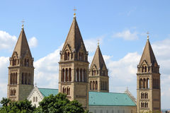 The Cathedral of Pecs towers. Hungary Stock Photo