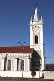Cathedral in Petrosani. Cathedral with clock tower in Petrosani Romania Royalty Free Stock Image