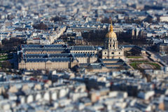 Cathedral. The  photo show the top view of Paris with tilt-shift filter Stock Photo