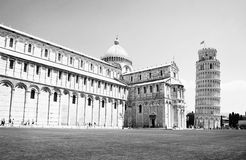 Cathedral of Pisa. The cathedral and the leaning bell tower of Pisa Royalty Free Stock Photo
