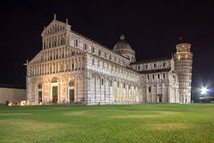 Cathedral of Pisa at night in Italy Stock Images