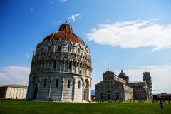 Cathedral of Pisa religious complex and the Leaning Tower. Piazza dei Miracoli., Italy Stock Images