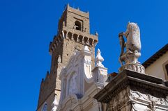 Cathedral of Pitigliano detail. Detail view of the Cathedral of the Saints Peter and Paul Cattedrale dei Santi Pietro e Paolo in Pitigliano Tuscany Stock Photo