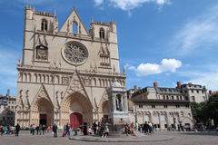 Cathedral and Place Saint-Jean in Lyon Stock Images
