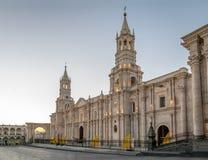 Cathedral at Plaza de Armas - Arequipa, Peru. Cathedral at Plaza de Armas in Arequipa, Peru Royalty Free Stock Photo