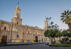 Cathedral at Plaza de Armas - Arequipa, Peru. Cathedral at Plaza de Armas in Arequipa, Peru Royalty Free Stock Images