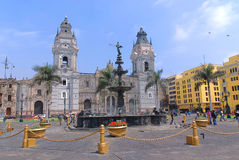 Cathedral at Plaza de Armas Stock Image