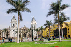 Cathedral at Plaza de Armas Stock Images
