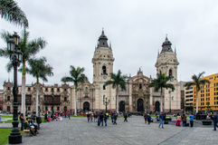 Cathedral at Plaza de Armas Royalty Free Stock Images