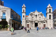 Cathedral of the Plaza de la Catedral, Cuba, Havana. Cathedral of the Plaza de la Catedral Stock Photos
