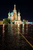 Cathedral Pokrovsky on red square in Moscow nigh. Cathedral Pokrovsky on red square in Moscow at night Stock Photo