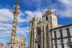 Cathedral in Porto. City pillory and front view of cathedral in Porto, Portugal Royalty Free Stock Photography