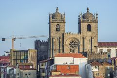 Cathedral in Porto. Distance view on cathedral in Porto city, Portugal Royalty Free Stock Photos