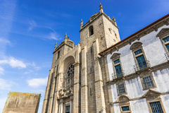 Cathedral in Porto. Front view of Se Cathedral in Porto city, Portugal Royalty Free Stock Photos
