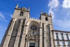 Cathedral in Porto. Frontage of Se Cathedral in Porto city in Portugal Royalty Free Stock Photo