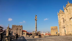 Cathedral of Porto with the Pillory and Medieval Tower, Portugal stock video footage