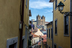 Cathedral in Porto. View from narrow strret on cathedral in Porto, Portugal Royalty Free Stock Photos