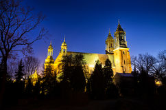 Cathedral of Poznan during the night, Poland royalty free stock photos