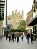 The Cathedral from Princesshay, Exeter. Royalty Free Stock Photography