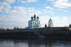 The cathedral in the Pskov Kremlin stock images