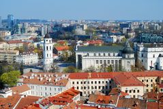 Cathedral pubic domain square area in the center of Vilnius Royalty Free Stock Image