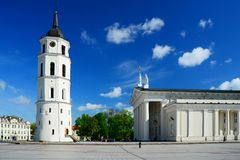 Cathedral pubic domain square area in the Vilnius Royalty Free Stock Images