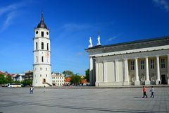Cathedral pubic domain square area in the Vilnius Royalty Free Stock Photo