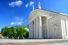 Cathedral pubic domain square area in the Vilnius Stock Images