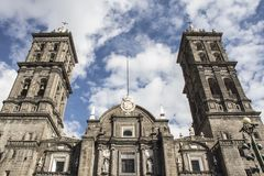 Cathedral of puebla royalty free stock photo