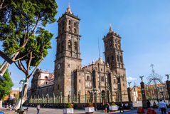 Cathedral of Puebla, Mexico. PUEBLA, MEXICO - MARCH 17, 2011: Roman Catholic colonial Cathedral during the day -  consecrated in 1649. It is a major landmark in Royalty Free Stock Photos