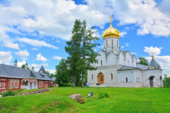 Cathedral and Queen's chambers in Savvino-Storozhevsky man's monastery in Zvenigorod, Russia Royalty Free Stock Images