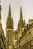 The Cathedral of Quimper, Finistere, Brittany, France stock photography