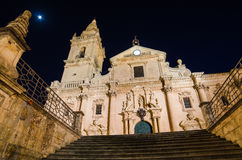 Cathedral of Ragusa (Sicily) at night Stock Image