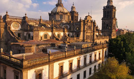 Cathedral. Rear view of a cathedral in Mexico city Royalty Free Stock Image