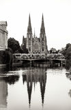 Cathedral reflection in the water of river, Strasbourg Stock Image