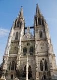 Cathedral of Regensburg. Old Catholic Cathedral of Regensburg (Germany) , blue sky royalty free stock photo