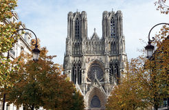 Cathedral in Reims city Royalty Free Stock Image