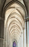 Cathedral of Reims, France. Archway in the gothic cathedral of Reims, France , one of the first and greatest cathedrals in history royalty free stock images