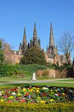 Cathedral and remembrance gardens, Lichfield, UK. Stock Image