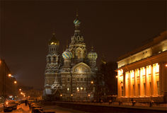 The Cathedral of Resurrection (Savior on Blood) winter night. St. Petersburg Royalty Free Stock Images
