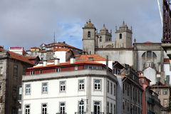 Cathedral from Ribeire district in Porto Stock Photo
