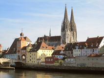 Cathedral and river Danube in Regensburg Stock Images