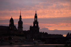 Cathedral and River Elbe; Dresden Royalty Free Stock Images
