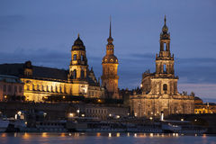 Cathedral and River Elbe; Dresden Royalty Free Stock Photography